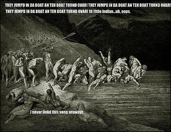 they jumpd in da boat an teh boat turnd ovar