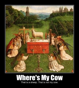where's my cow? That is a sheep. That is not my cow.