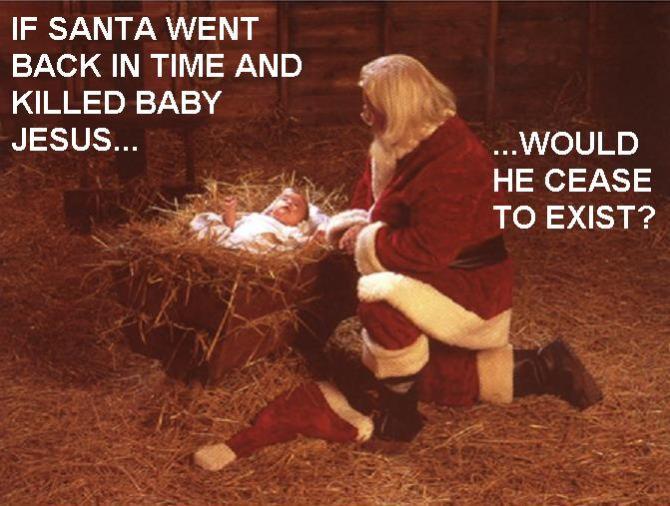 santa back in time kill jesus cease exist