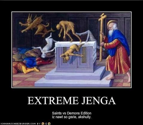 Extreme Jenga Saints vs Demons Edition